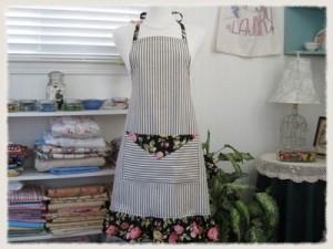 Black Ticking Vintage Style Ruffled Bib Apron 1