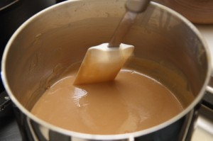 chocolate custard, just about done, photo by LdV