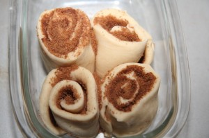 rolled up cinnamon rolls pre-second-rise