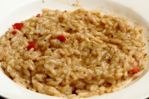 spicy red risotto with chili pepper from the garden