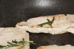 pan seared pork chops with fresh rosemary from the garden