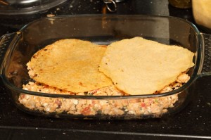 Mexican lasagne with home made corn tortillas