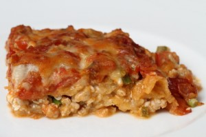 A plate of mexican lasagne