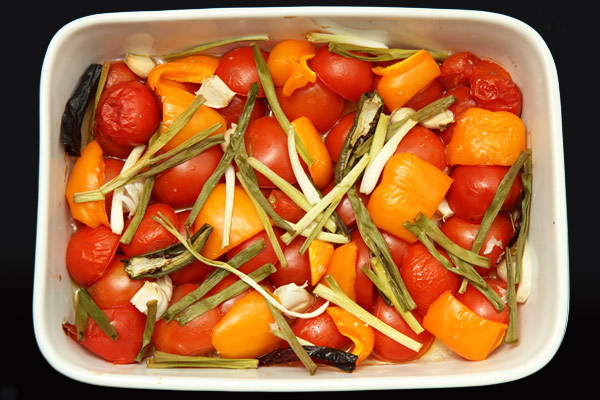 vegetables in casserole dish, after about 45 minutes of roasting