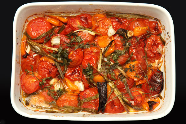 Roasted vegetables done and ready to be processed into sauce.