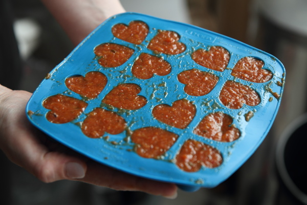 Sauce in ice cube tray to be frozen