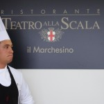 One of the chefs of Teatro alla Scala looking stern at Taste of Milano
